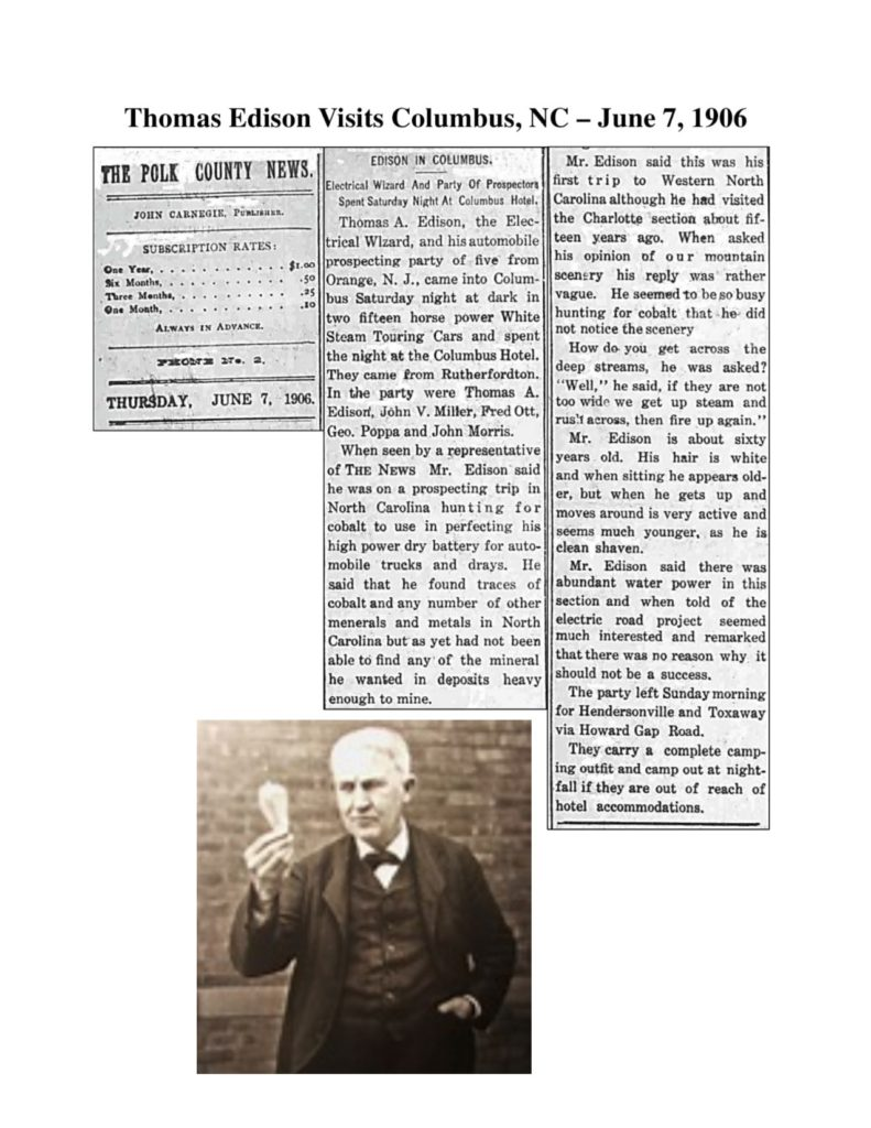 Newspaper Clipping Thomas Edison visits Columbus NC June 7, 1906