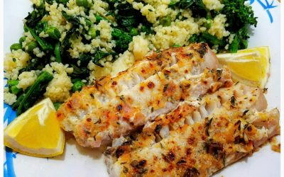 Lemon Thyme Pollock with Broccoli Rabe and Pea Couscous