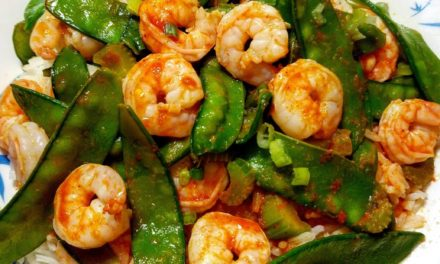 Shrimp & Snow Peas with Red Curry Dressing and Rice