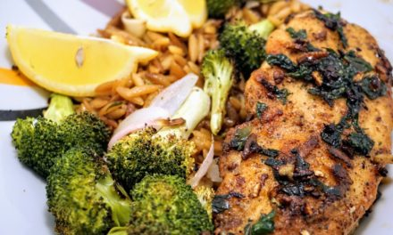Buttery Garlic Chicken with Orzo Pilaf & Roasted Broccoli