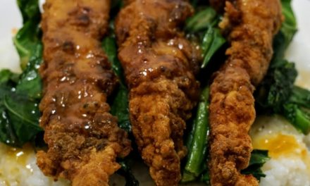 Southern Fried Chicken Tenders with Creamy Grits & Collard Greens