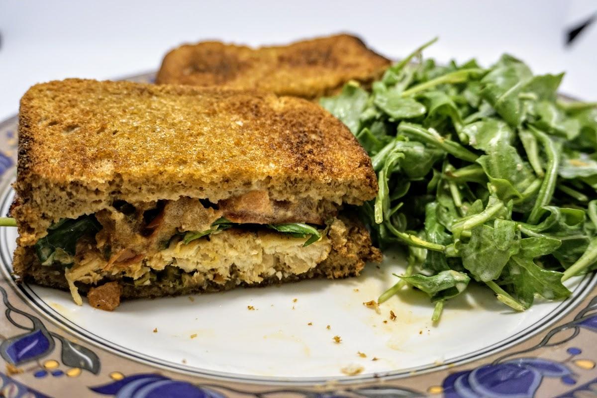 Grilled Chicken Sandwich with Caper Mayo & Arugula Salad