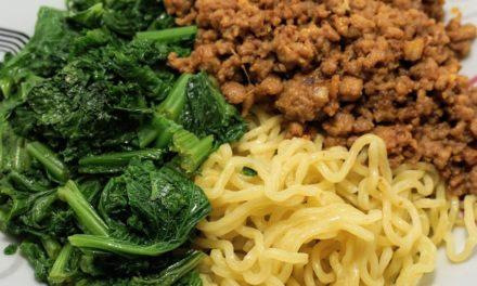 Pork Dan Dan Noodles with Mustard Greens