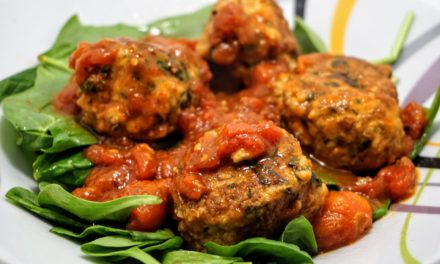 Cheesy Turkey Meatballs with Spinach Salad & Peppery Croutons