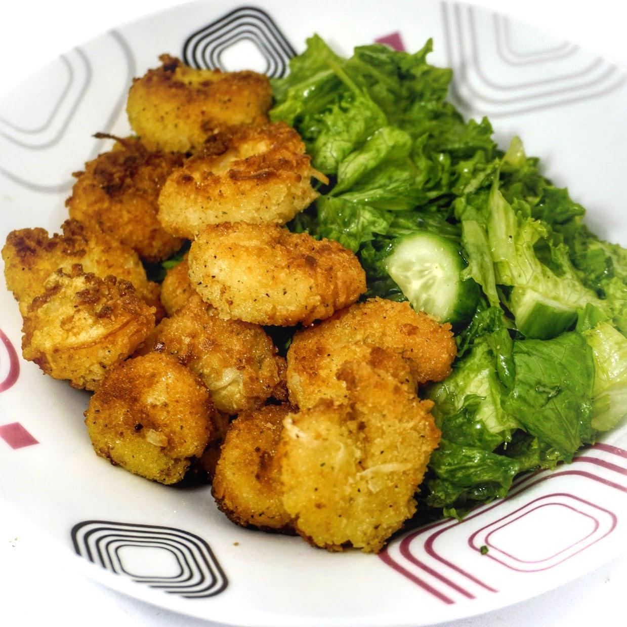 Easy Coconut Shrimp Recipe with Chili-Garlic Mayo & Salad