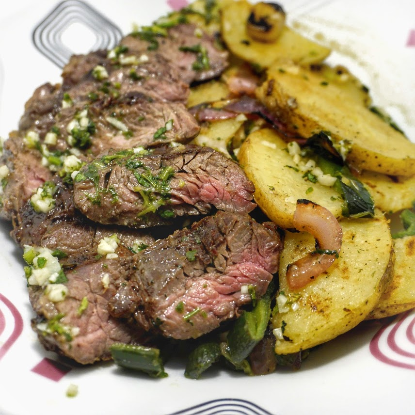 flank steak with chimichurri Grilled Potato and Poblano Salad