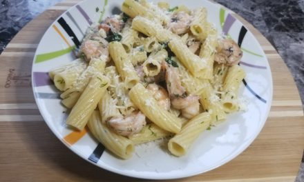 Shrimp Spinach Pasta Recipe with Dill Pesto Olives