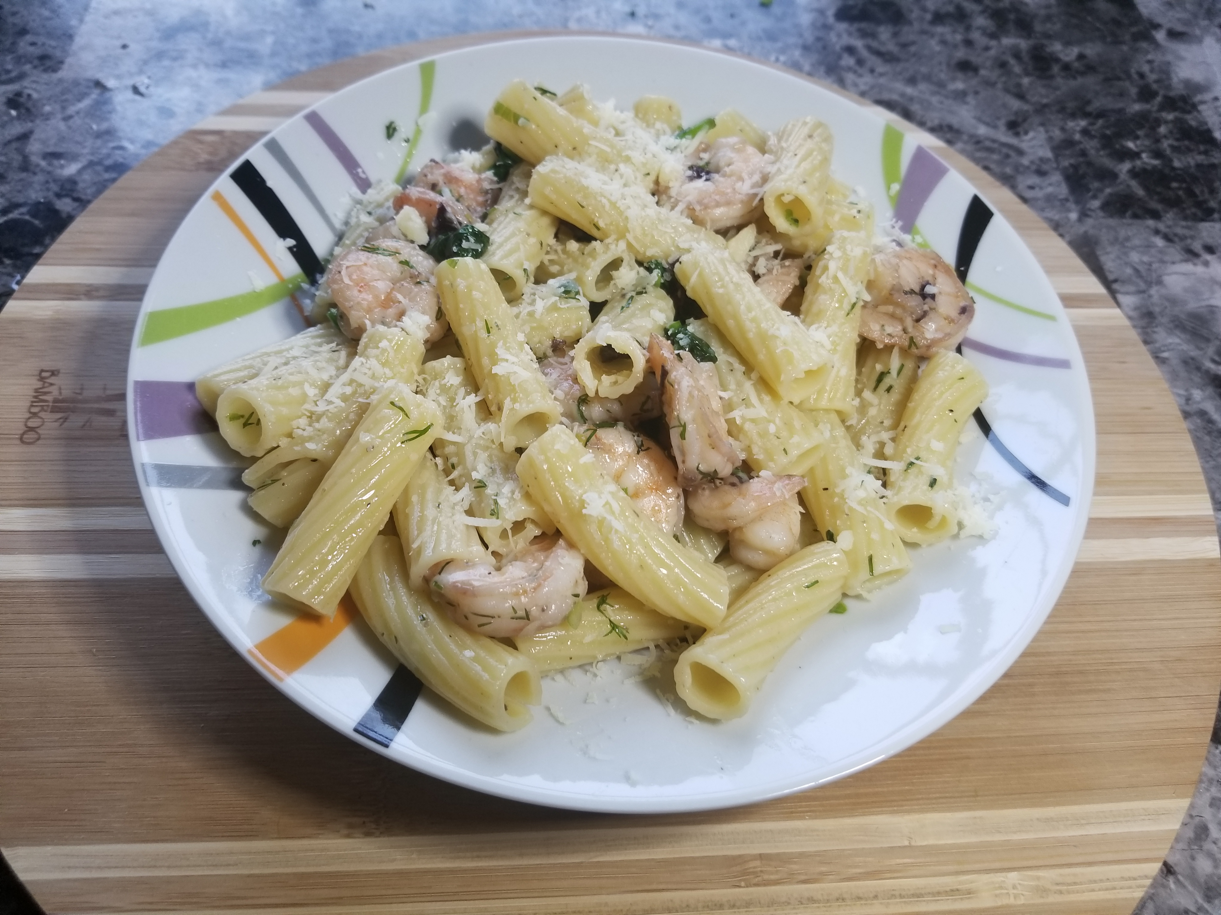 Shrimp Spinach Pasta Recipe with Dill Pesto Olives