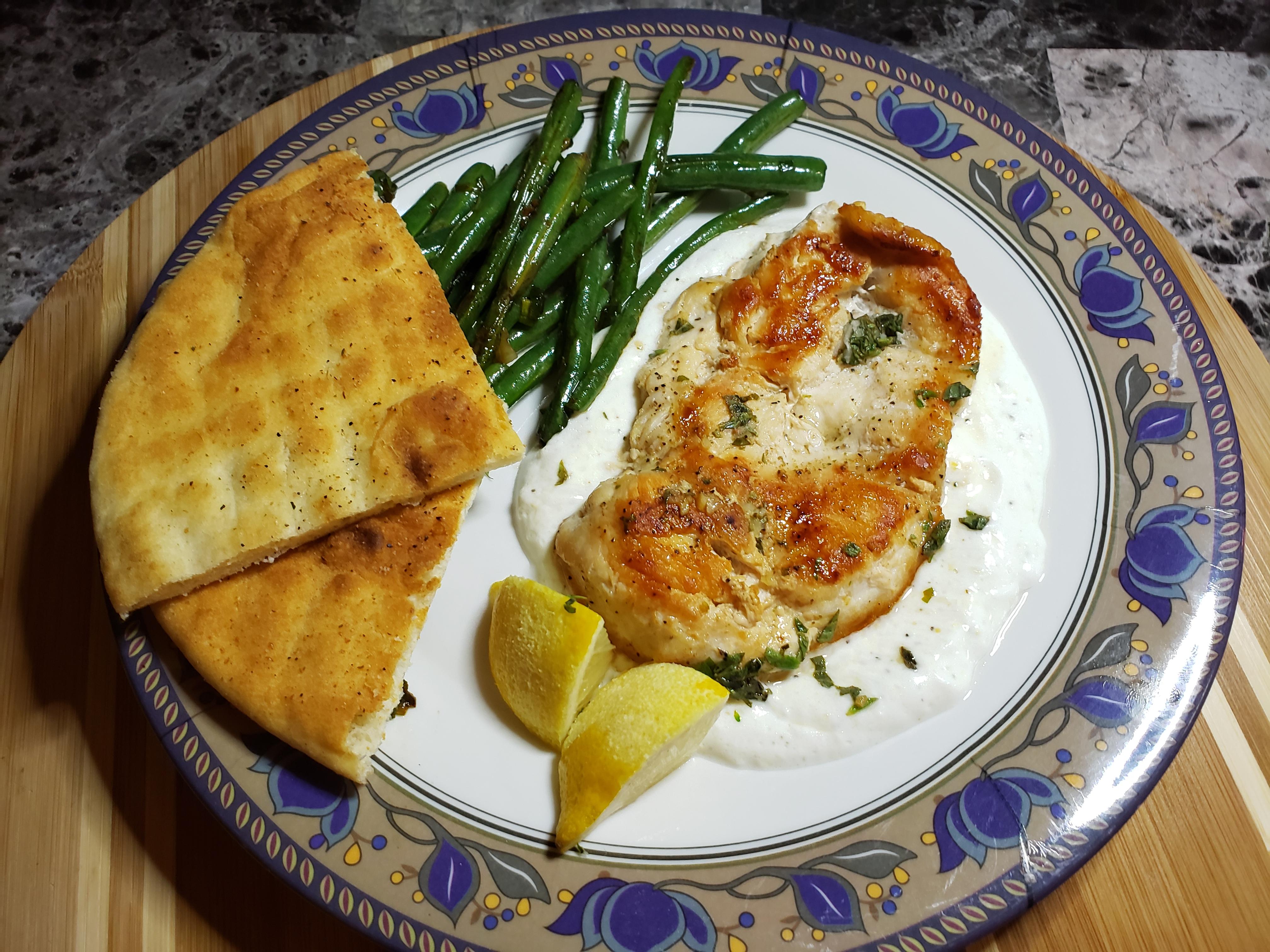 Lemon Herb Chicken Recipe with Garlicky Yogurt