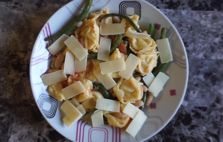 Tortellini & Bean Salad Recipe with Roasted Tomato Vinaigrette