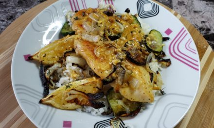 Lemon-Dijon Chicken with Rice and Roasted Zucchini
