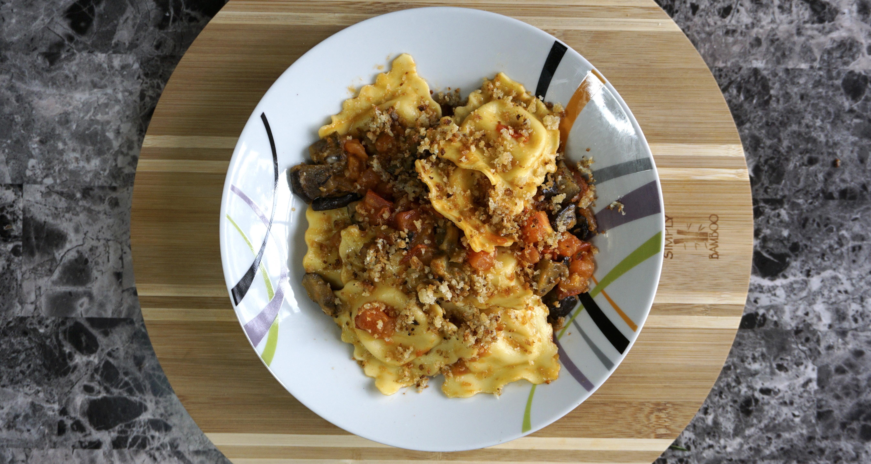 Four-Cheese Ravioli alla Norma with Crispy Garlic Breadcrumbs