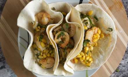 Shrimp Fajitas with Poblano Peppers & Lime Crema