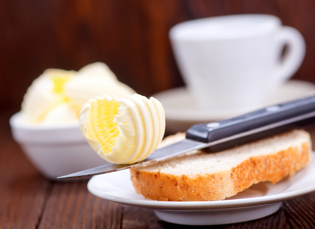 bread and butter for breakfast, breakfast on a table