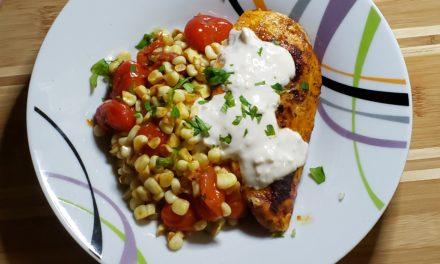 BBQ Spice Rubbed Chicken with Corn-Tomato Sauté
