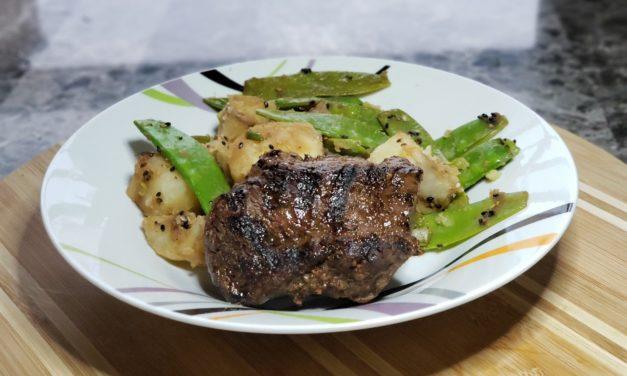 Tamari Grilled Steak with Sesame Potatoes & Snow Peas