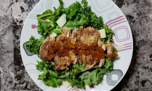 Moroccan Spiced Pork with Apricot Chutney and Kale Salad