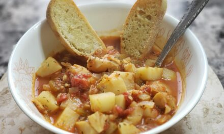 Manhattan Fish Chowder with Garlic Ciabatta Bread