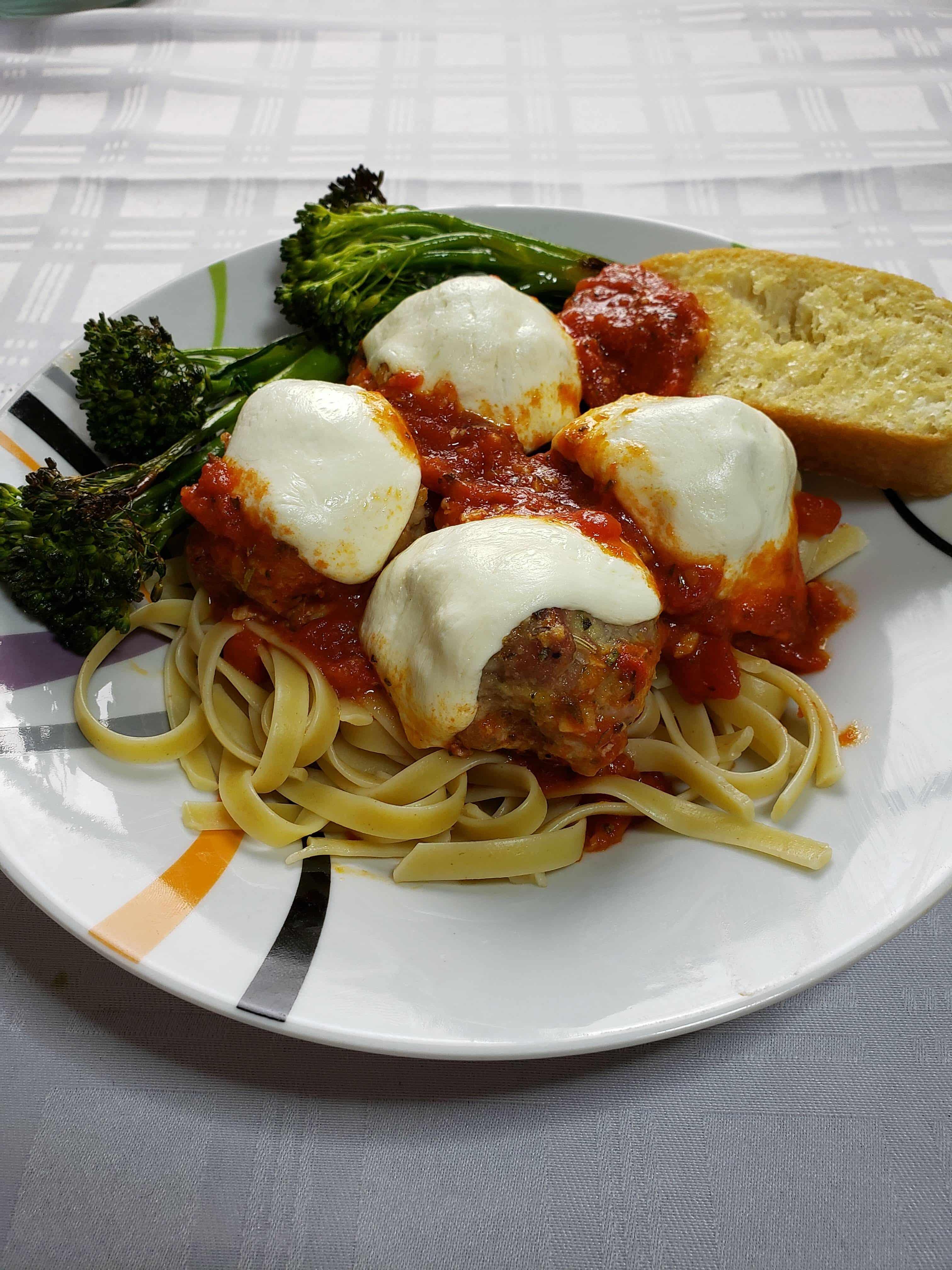 Skillet Pork Meatball Parmesan Dinner