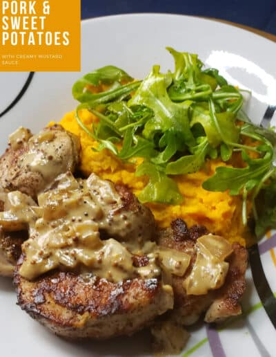 Seared Pork & Sweet Potatoes with Creamy Mustard Sauce meals recipe