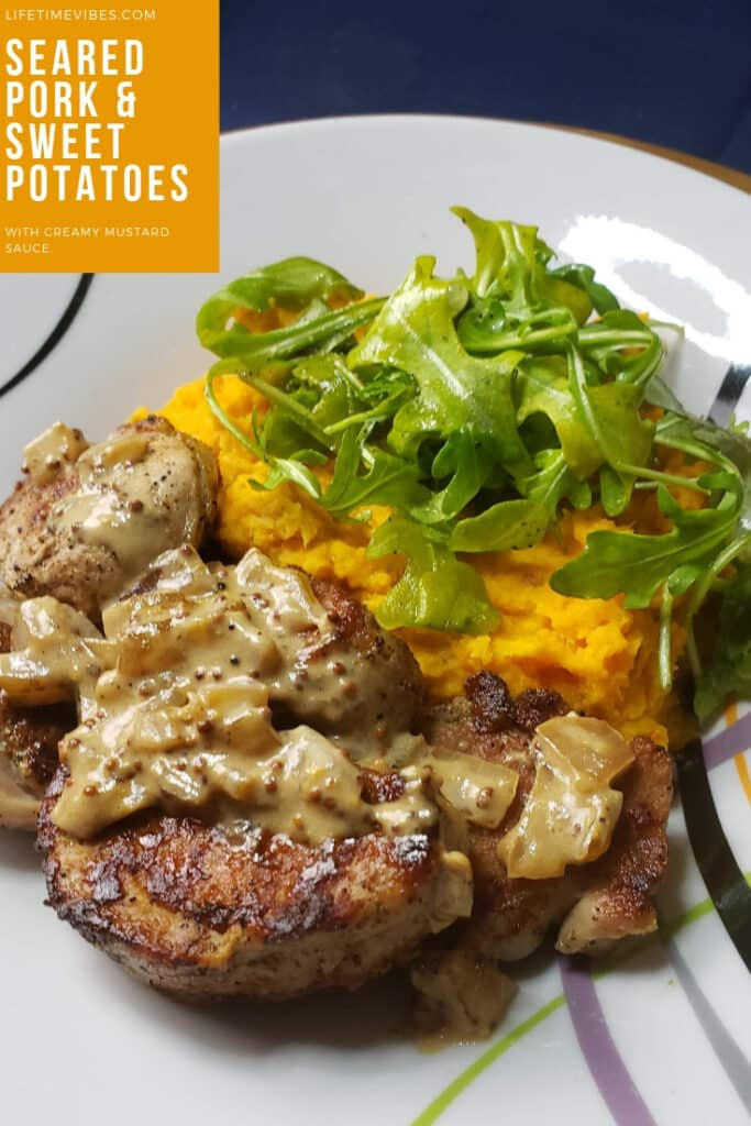 Seared Pork & Sweet Potatoes with Creamy Mustard Sauce