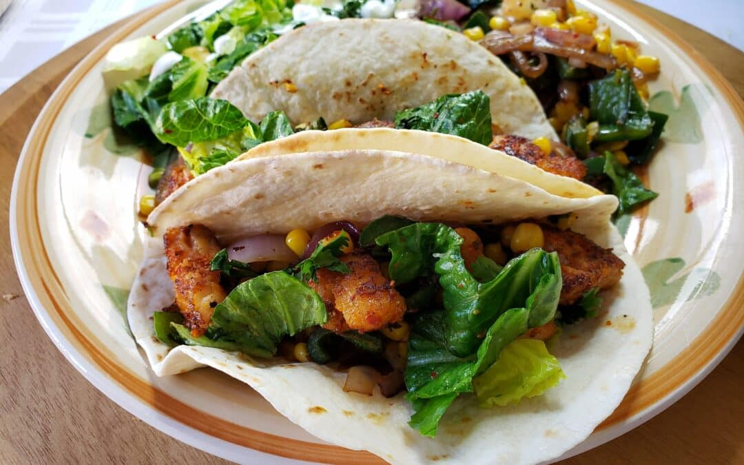 Chile Spiced Fish Tacos Recipe with with Corn-Poblano Sauté