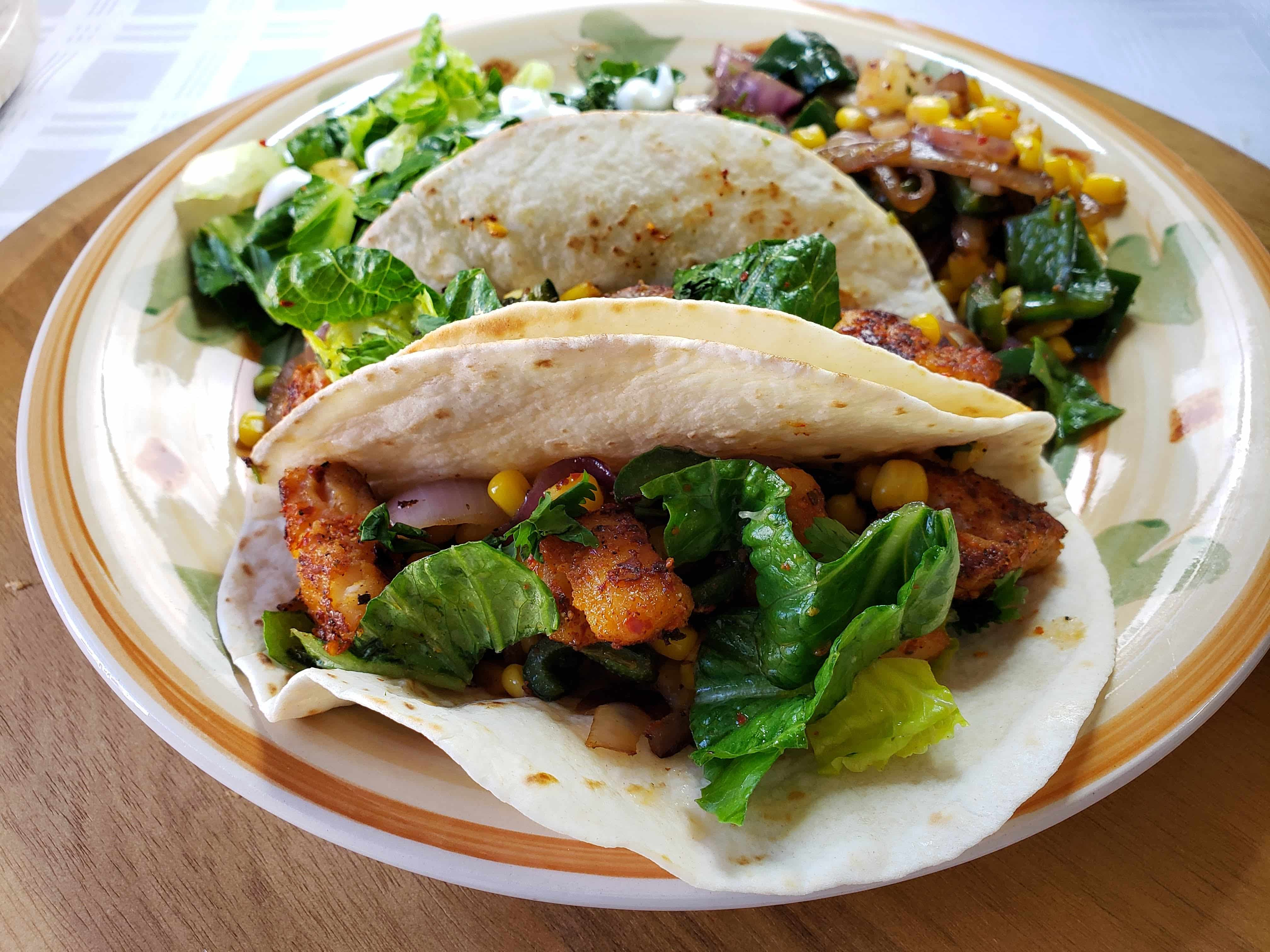 Chile Spiced Fish Tacos with with Corn-Poblano Sauté