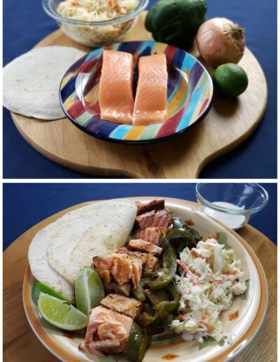 Salmon Fajitas with Peppers, Onions & Tangy Slaw 1
