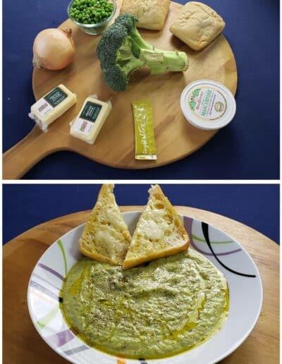 Broccoli Cheddar Soup with Peas & Garlicky Ciabatta 1