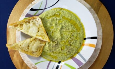 Broccoli Cheddar Soup with Peas & Garlicky Ciabatta