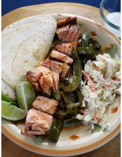 Salmon Fajitas with Peppers, Onions & Tangy Slaw 4