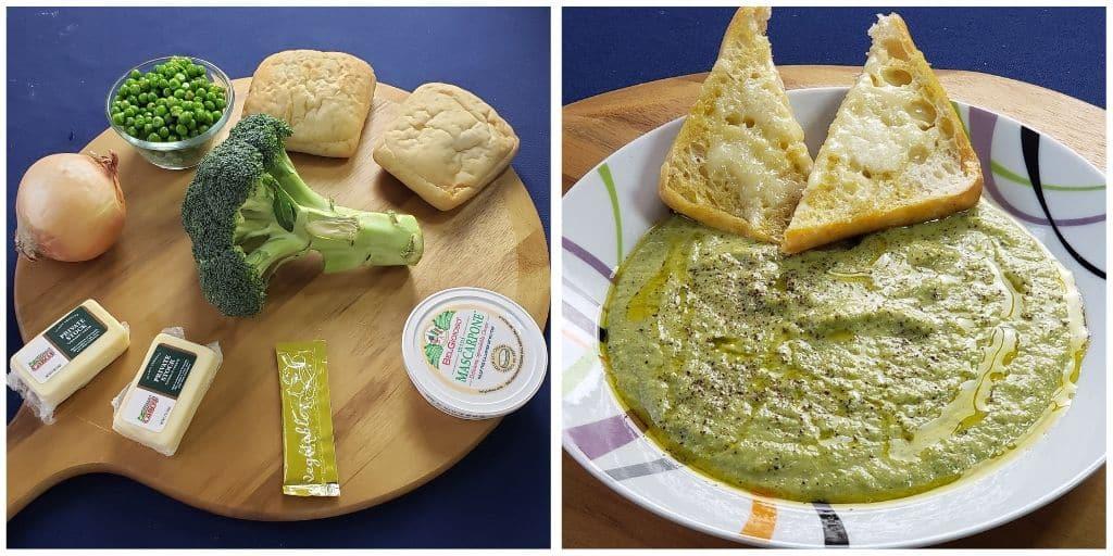 Broccoli Cheddar Soup with Peas & Garlicky Ciabatta