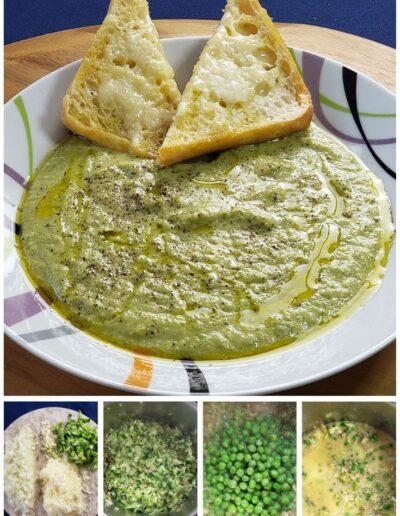 Broccoli Cheddar Soup with Peas & Garlicky Ciabatta 6