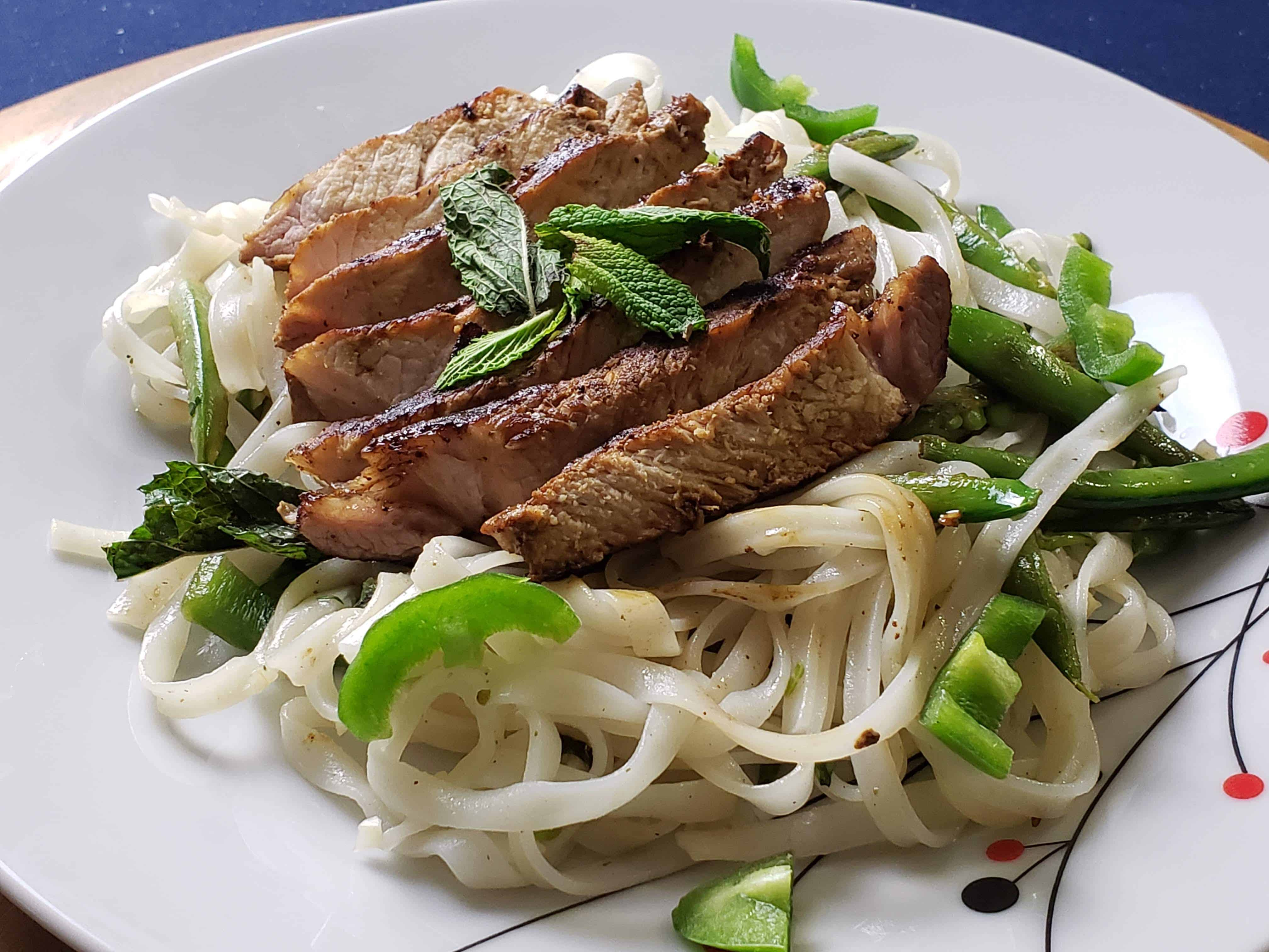 Vietnamese Pork Chop with Rice Noodle  and wine pairing