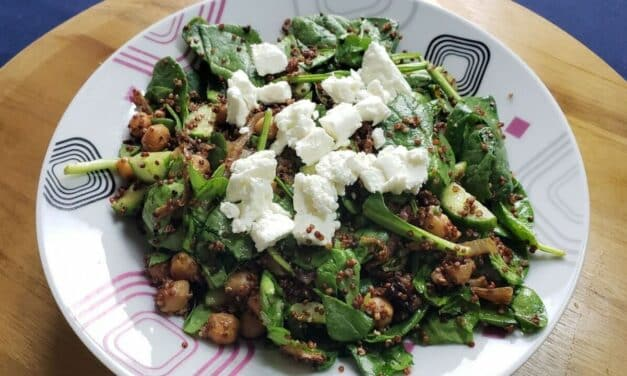 Crispy Chickpeas & Quinoa Salad with Dried Cherries & Goat Cheese