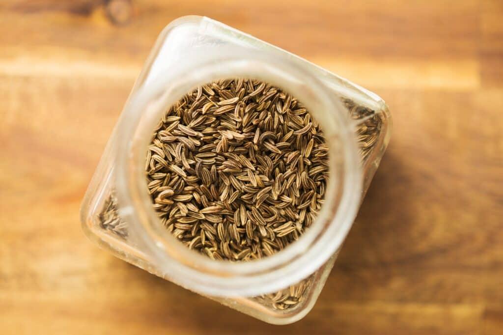 Cumin seeds or caraway.