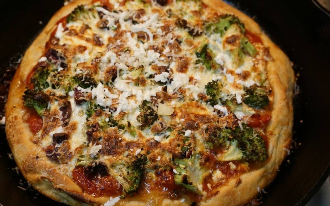 Broccoli Black Olive Pizza with Cherry Tomato Sauce wine pairing