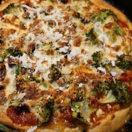 Broccoli Black Olive Pizza