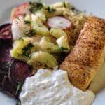 Scandinavian Crispy Salmon Bowl with Quinoa, Beets & Horseradish Cream