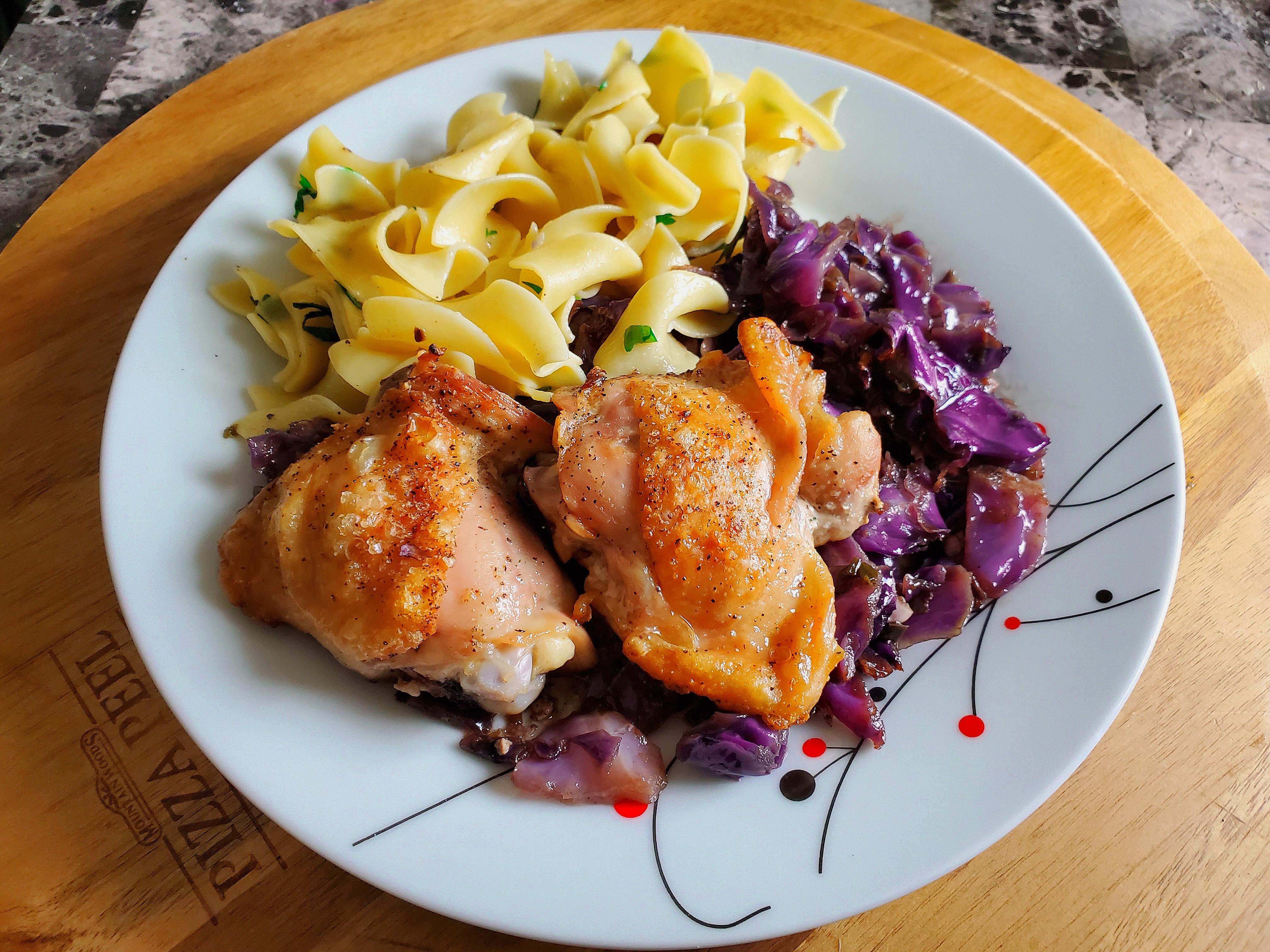 Saucy Skillet Chicken Thighs & Braised Cabbage