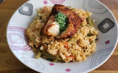 Spanish Style Smoky Cod & Rice paired with a Moscato