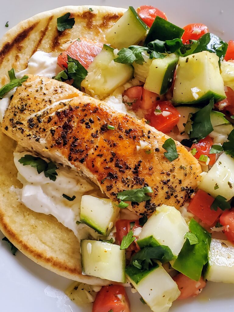 Greek Salmon Gyros with Chopped Salad