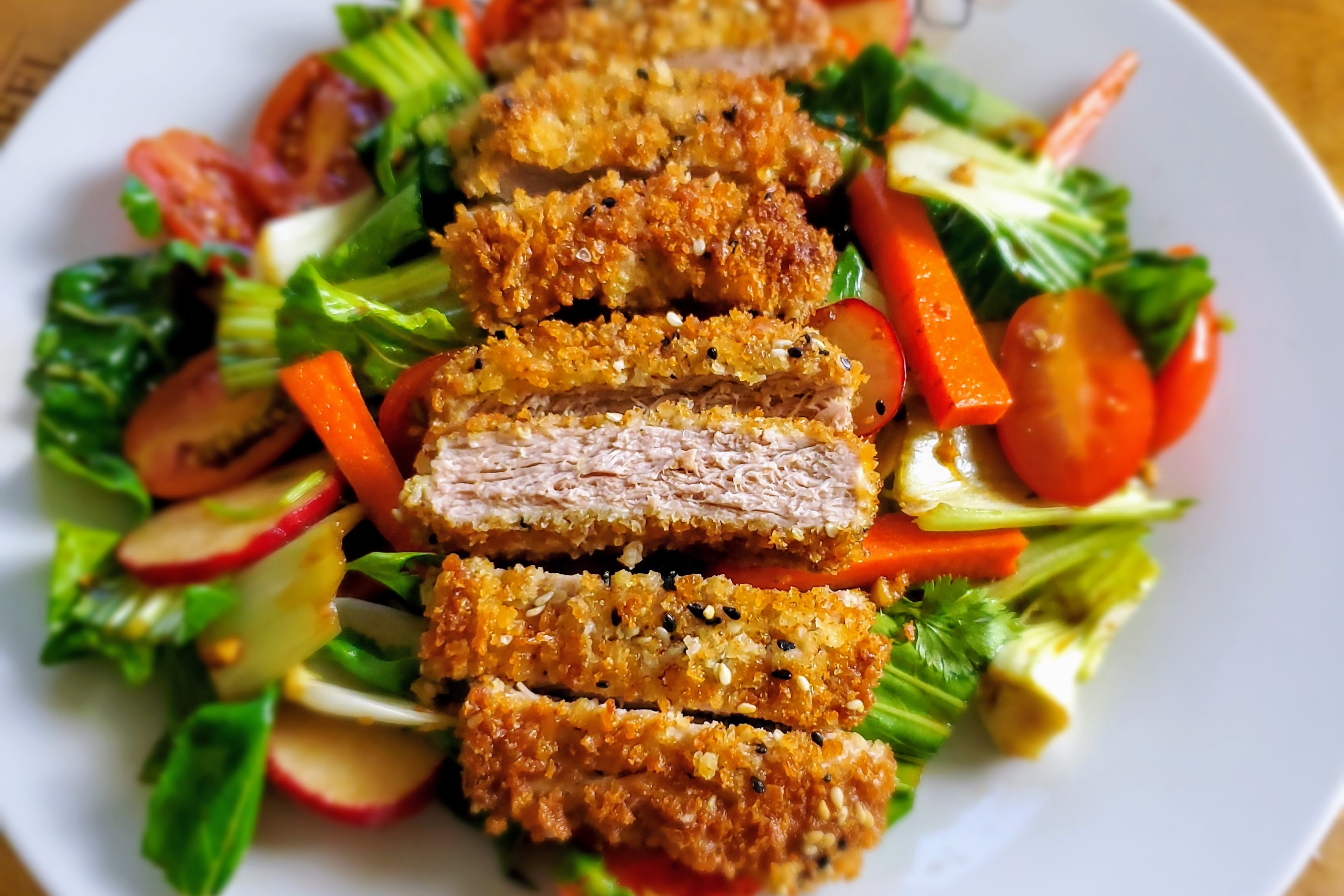 Sesame Pork Cutlets with Bok Choy