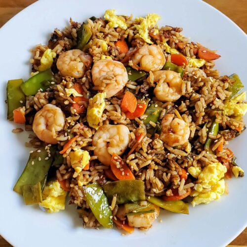 Simple Shrimp Fried Rice with Snow Peas & Carrots