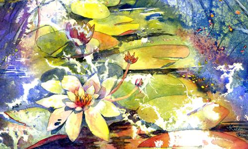 "Kathleen Haynes, Sonata, poured watercolor 14"" x 18"""