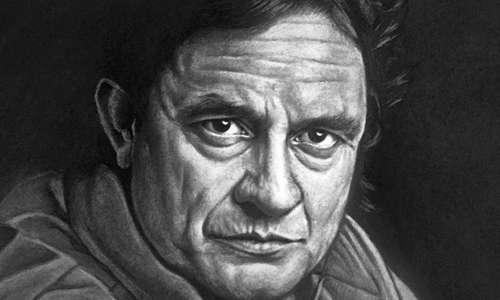 "Mitch Turpin, Johnny Cash, charcoal 17""x14"""