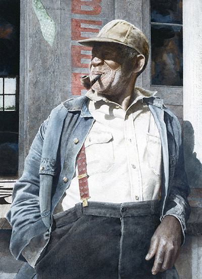 Williams - Hubert Shuptrine, watercolor, 25 x 18 inches OD 36 x 29 inches