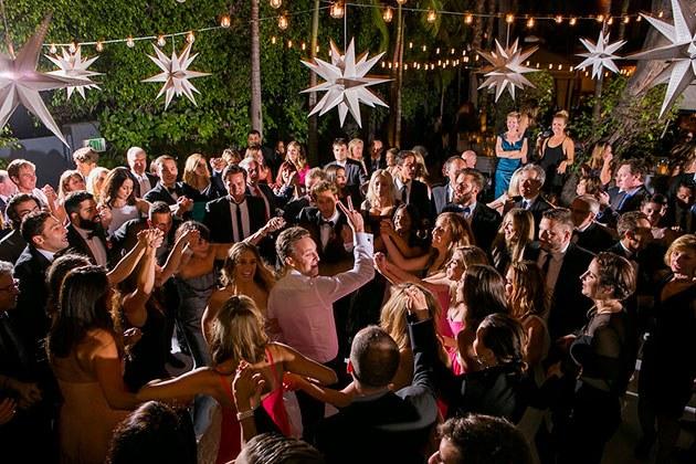 Dancefloor with people dancing at a wedding