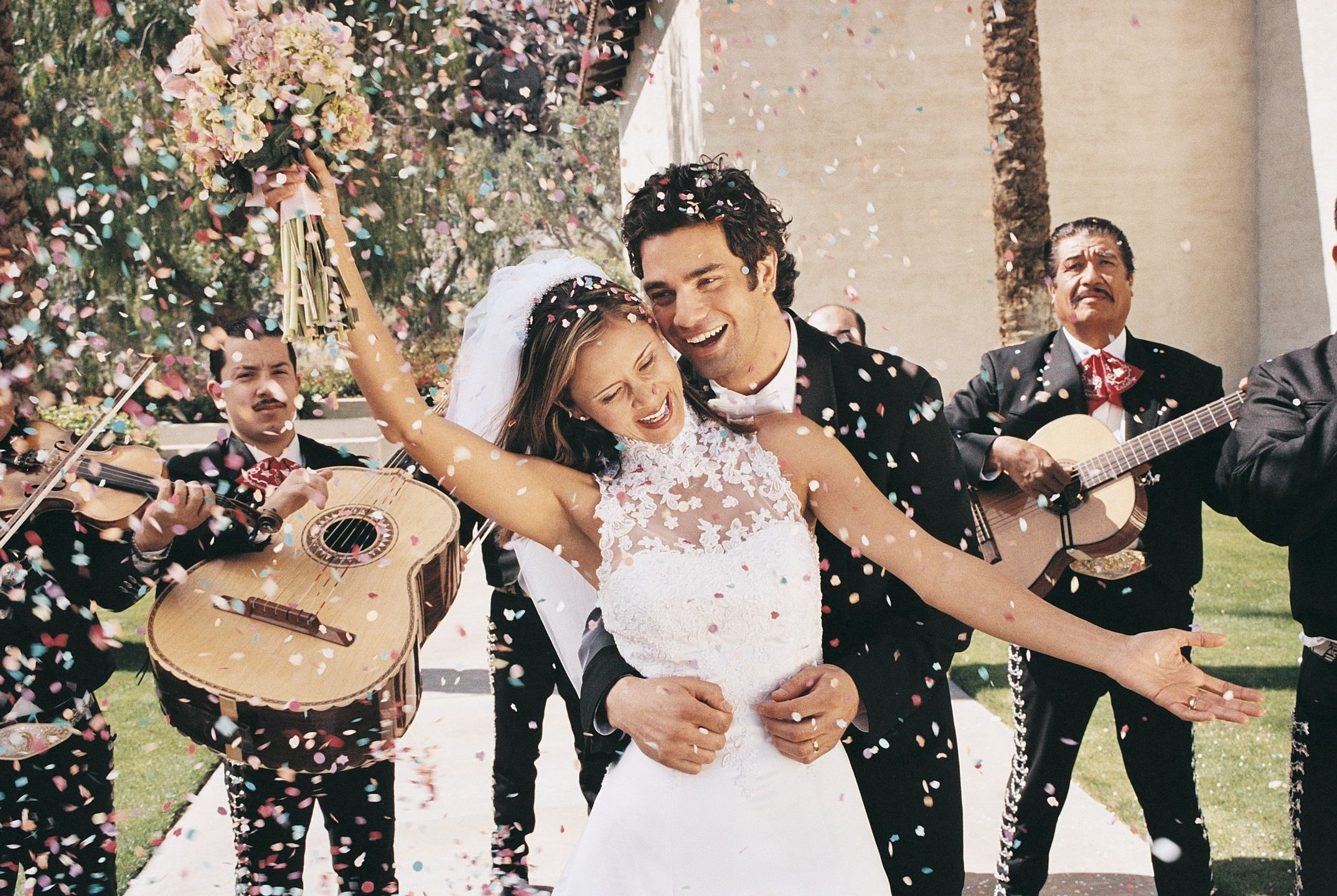 Wedding Celebration after marriage with confetti and mariachi