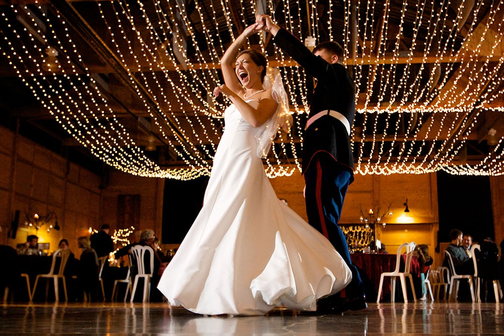 dancing couple on the dance floor at their wedding